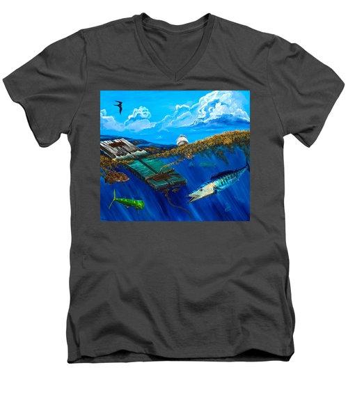 Wahoo Under Board Men's V-Neck T-Shirt by Steve Ozment