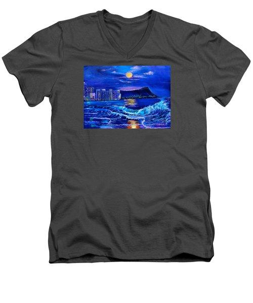 Waikiki Lights Men's V-Neck T-Shirt by Jenny Lee