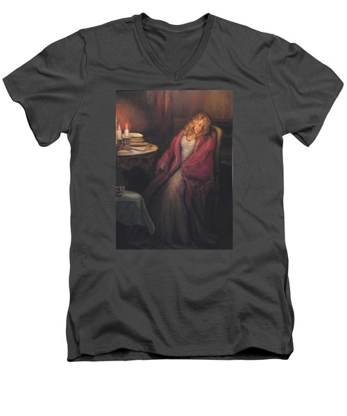 Men's V-Neck T-Shirt featuring the painting Waiting by Donna Tucker
