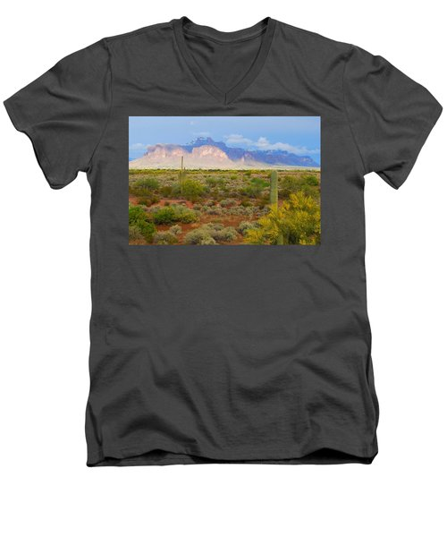 Men's V-Neck T-Shirt featuring the photograph 16x20 Canvas - Superstition Mountain Light by Tam Ryan
