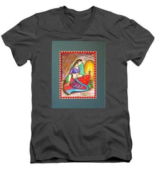 Men's V-Neck T-Shirt featuring the painting Waiting  by Harsh Malik