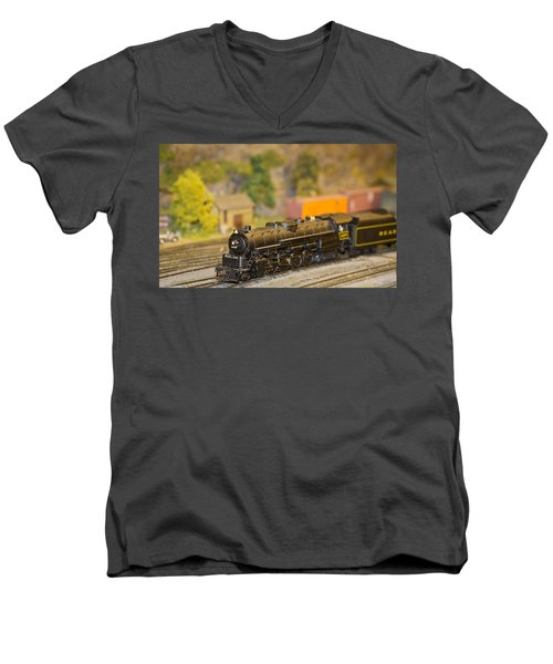 Men's V-Neck T-Shirt featuring the photograph Waiting Model Train  by Patrice Zinck
