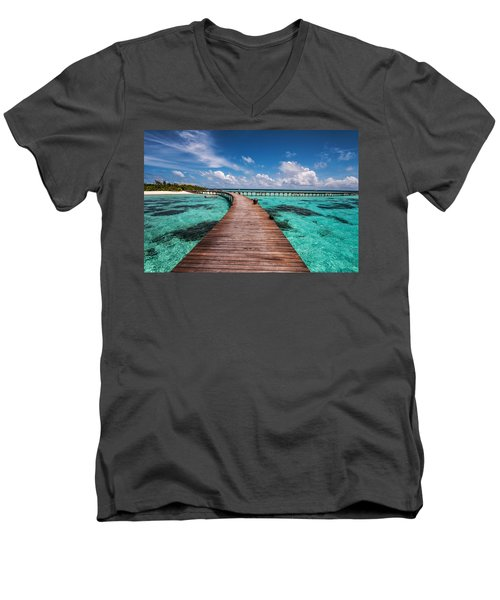 Walk Over The Water Men's V-Neck T-Shirt by Jenny Rainbow