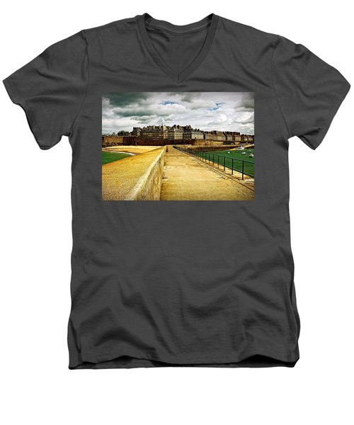 Men's V-Neck T-Shirt featuring the photograph Walkway To Intra Muros by Elf Evans