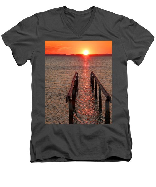 Men's V-Neck T-Shirt featuring the photograph Walkway To The Sun by Alan Socolik