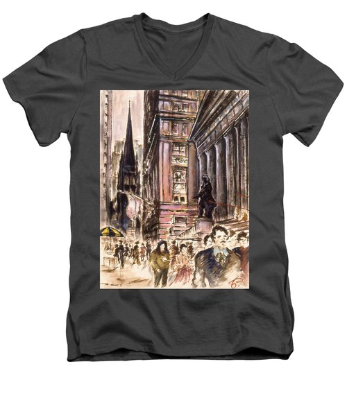 New York Wall Street - Fine Art Painting Men's V-Neck T-Shirt