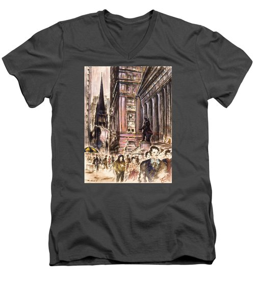 New York Wall Street - Fine Art Painting Men's V-Neck T-Shirt