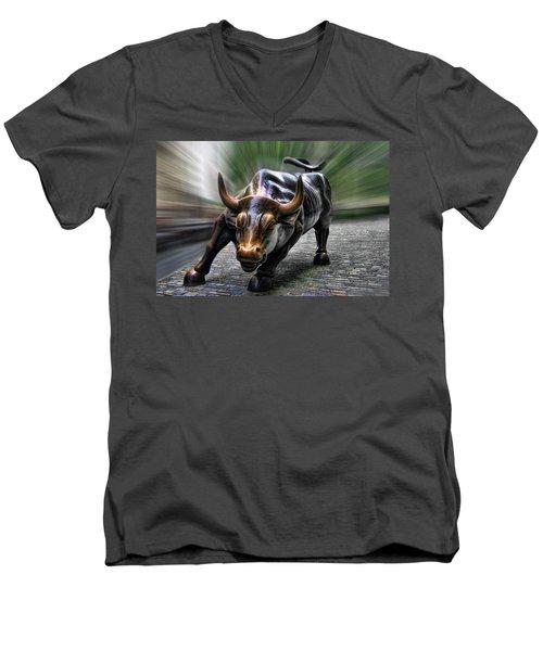 Wall Street Bull Men's V-Neck T-Shirt