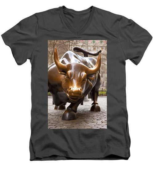 Wall Street Bull Men's V-Neck T-Shirt