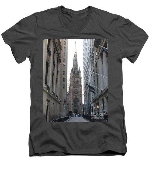 Wall Street Leading To Trinity Church Men's V-Neck T-Shirt by John Telfer