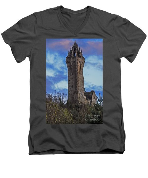Wallace Monument During Sunset Men's V-Neck T-Shirt