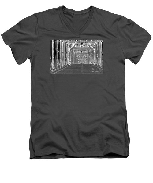Men's V-Neck T-Shirt featuring the photograph Walnut Black And White by Geraldine DeBoer