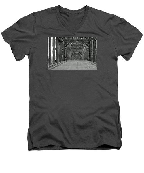 Men's V-Neck T-Shirt featuring the photograph Walnut Street Bridge by Geraldine DeBoer