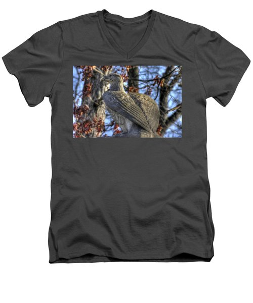 Men's V-Neck T-Shirt featuring the photograph War Eagles - 28th Massachusetts Volunteer Infantry Rose Woods Near The Wheatfield Winter Gettysburg by Michael Mazaika