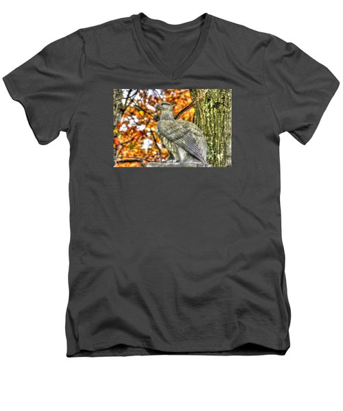 Men's V-Neck T-Shirt featuring the photograph War Eagles - 28th Massachusetts Volunteer Infantry Rose Woods The Wheatfield Fall-a Gettysburg by Michael Mazaika