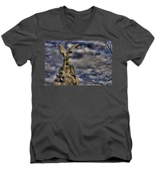 Men's V-Neck T-Shirt featuring the photograph War Eagles - 88th Pa Volunteer Infantry Cameron Light Guard-b1 Oak Hill Autumn Gettysburg by Michael Mazaika