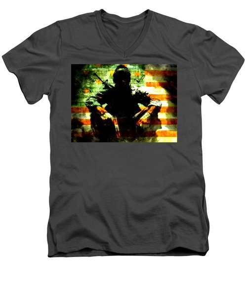 Men's V-Neck T-Shirt featuring the painting War Is Hell by Brian Reaves