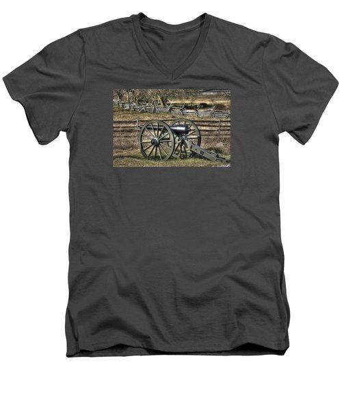 Men's V-Neck T-Shirt featuring the photograph War Thunder - 9th Michigan Btry 1st Michigan Light Artillery Battery I Hancock Ave Gettysburg by Michael Mazaika
