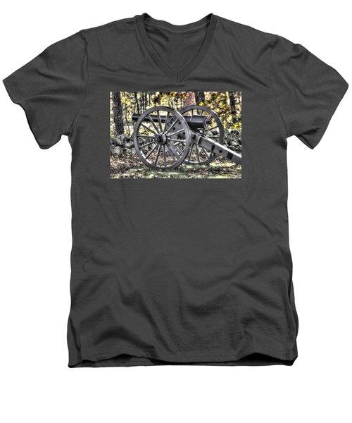 Men's V-Neck T-Shirt featuring the photograph War Thunder - The Albemarle Va Artillery Wyatt's Battery-b1 West Confederate Ave Gettysburg by Michael Mazaika