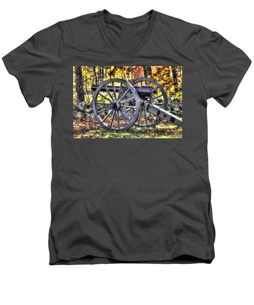 Men's V-Neck T-Shirt featuring the photograph War Thunder - The Albemarle Va Artillery Wyatt's Battery-b2 West Confederate Ave Gettysburg by Michael Mazaika
