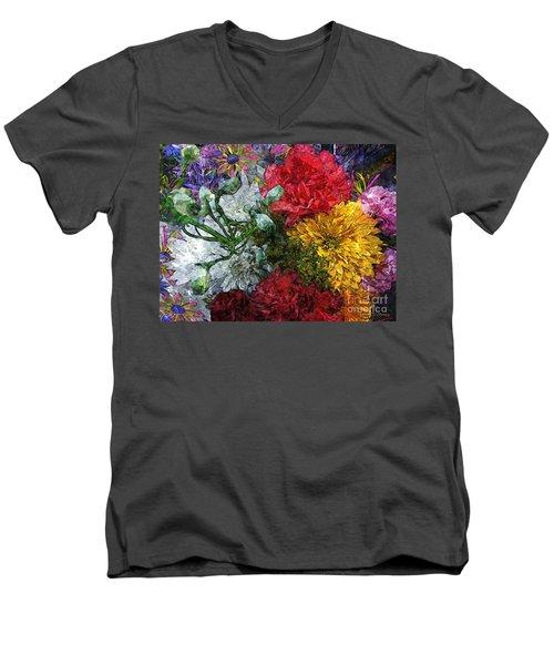Warning Flowers At Large Men's V-Neck T-Shirt