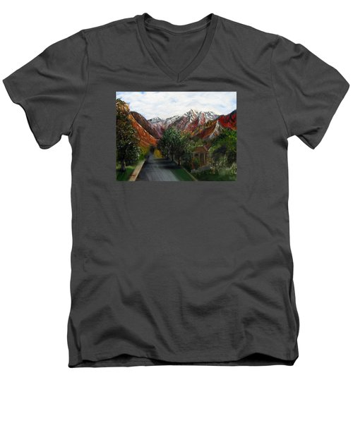 Wasatch Range Looking Up Binford St. Men's V-Neck T-Shirt by LaVonne Hand