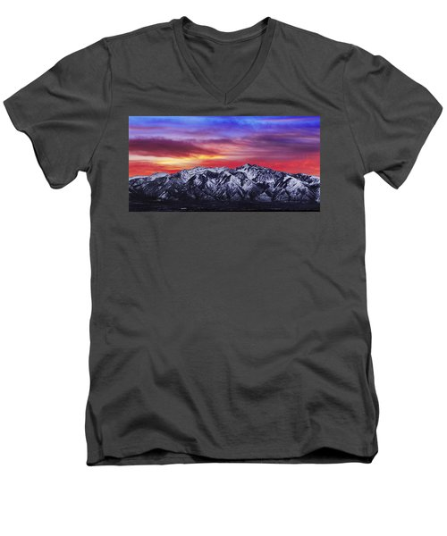 Wasatch Sunrise 2x1 Men's V-Neck T-Shirt by Chad Dutson