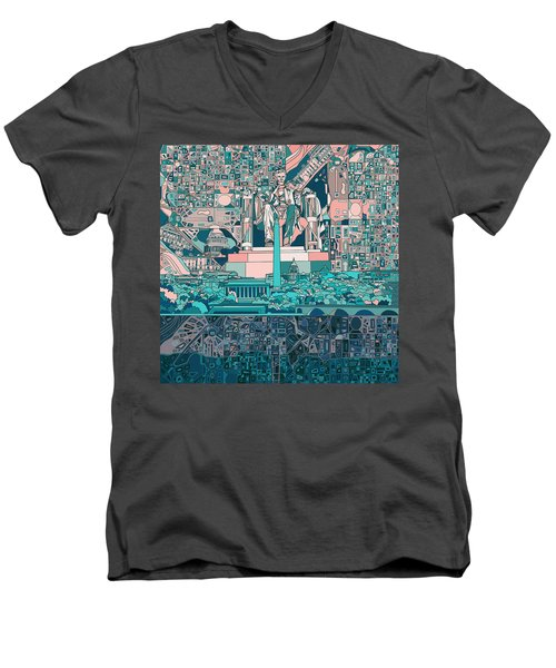 Washington Dc Skyline Abstract 5 Men's V-Neck T-Shirt