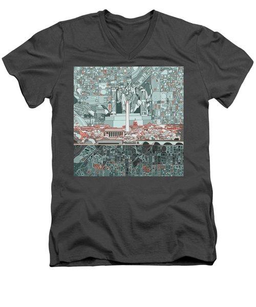 Washington Dc Skyline Abstract Men's V-Neck T-Shirt