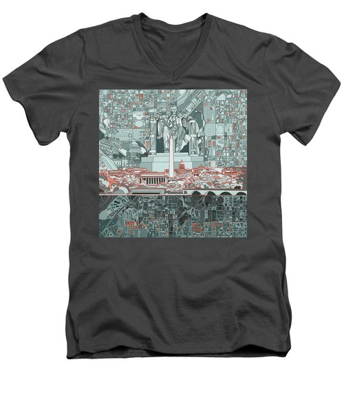 Washington Dc Skyline Abstract Men's V-Neck T-Shirt