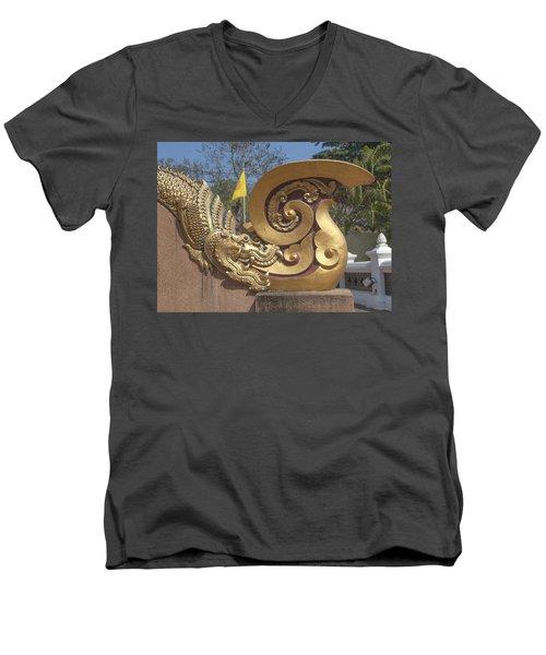 Wat Chedi Liem Phra Ubosot Makara And Stylized Naga Dthcm0838 Men's V-Neck T-Shirt