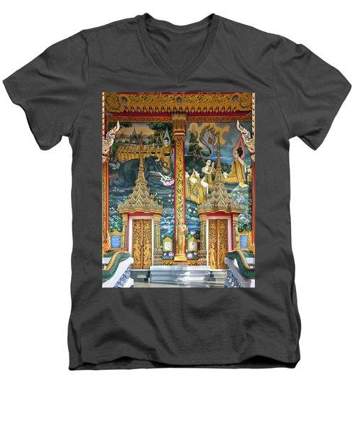 Men's V-Neck T-Shirt featuring the photograph Wat Choeng Thale Ordination Hall Facade Dthp143 by Gerry Gantt