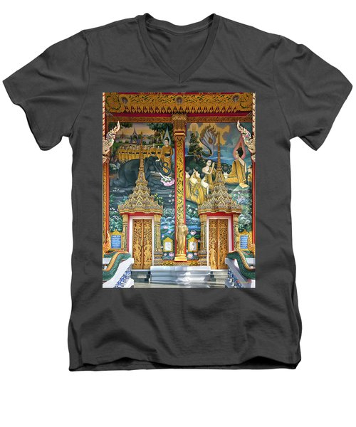 Men's V-Neck T-Shirt featuring the photograph Wat Choeng Thale Ordination Hall Facade Dthp143 by Gerry Gantt