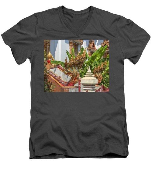 Wat Dokmai Phra Ubosot Stair Naga Dthb1783 Men's V-Neck T-Shirt