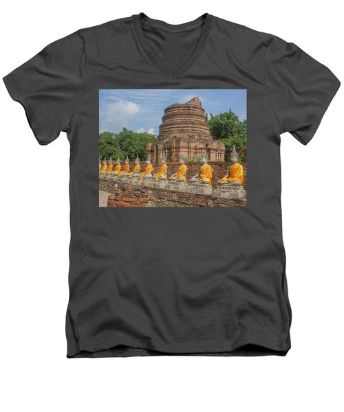 Wat Phra Chao Phya-thai Buddha Images And Ruined Chedi Dtha005 Men's V-Neck T-Shirt
