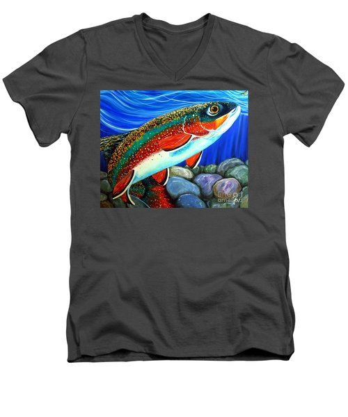 Brook Trout  Men's V-Neck T-Shirt by Jackie Carpenter