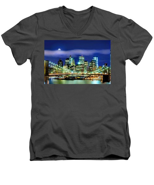 Watching Over New York Men's V-Neck T-Shirt by Az Jackson