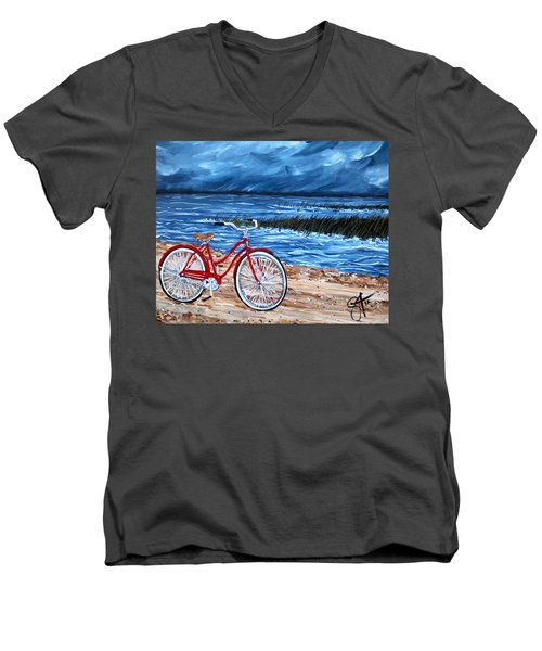 Men's V-Neck T-Shirt featuring the painting Watching The Storm by Jackie Carpenter