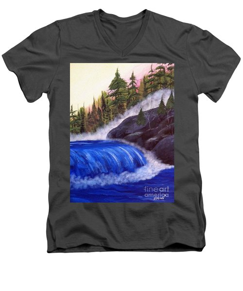 Men's V-Neck T-Shirt featuring the painting Water Fall By Rocks by Brenda Brown