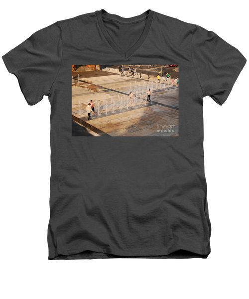 Men's V-Neck T-Shirt featuring the photograph Water Fun by Mary Carol Story