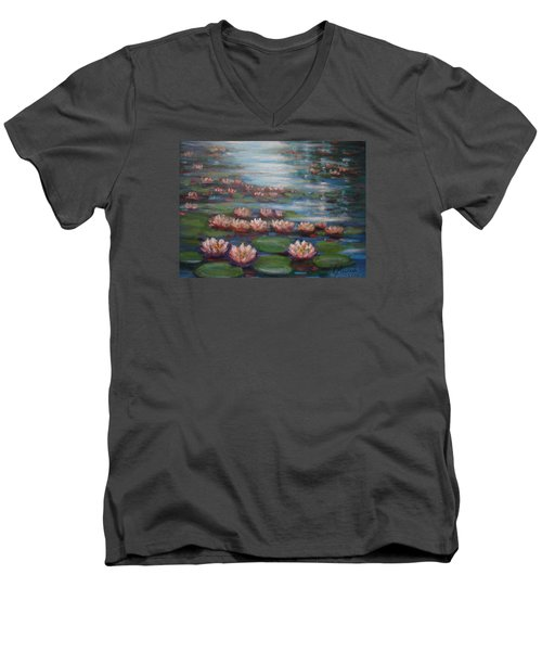 Men's V-Neck T-Shirt featuring the painting Water Lilies In Monet Garden by Laila Awad Jamaleldin