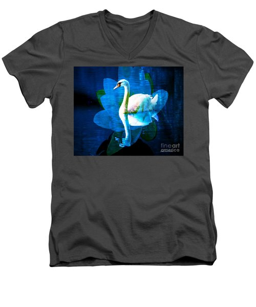 Men's V-Neck T-Shirt featuring the photograph Water Lily And Swan by Annie Zeno