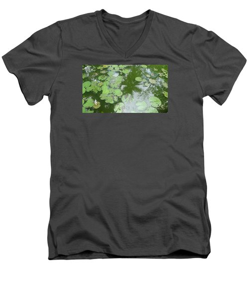 Water Lily Leaves And Palm Trees Men's V-Neck T-Shirt by Nora Boghossian