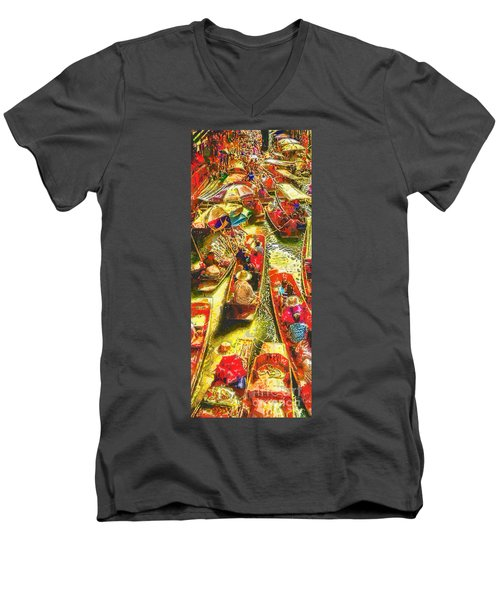 Water Market Men's V-Neck T-Shirt by Mo T