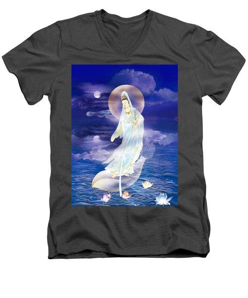 Water Moon Avalokitesvara  Men's V-Neck T-Shirt by Lanjee Chee