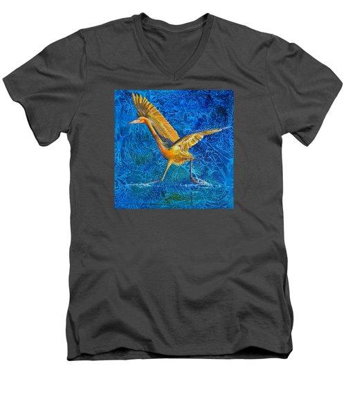 Water Run Men's V-Neck T-Shirt by AnnaJo Vahle