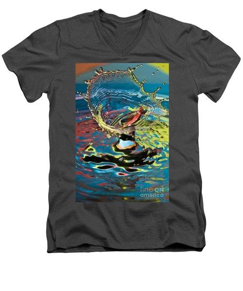Water Splash Exploding Men's V-Neck T-Shirt