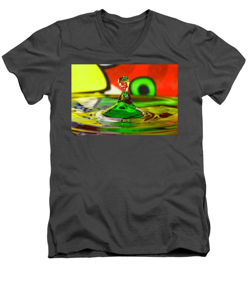 Men's V-Neck T-Shirt featuring the photograph Water Stick by Peter Lakomy