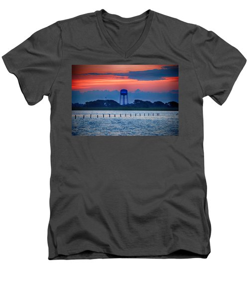 Men's V-Neck T-Shirt featuring the digital art Water Tower by Michael Thomas