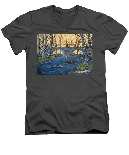 Men's V-Neck T-Shirt featuring the painting Water Under The Bridge by Brenda Brown
